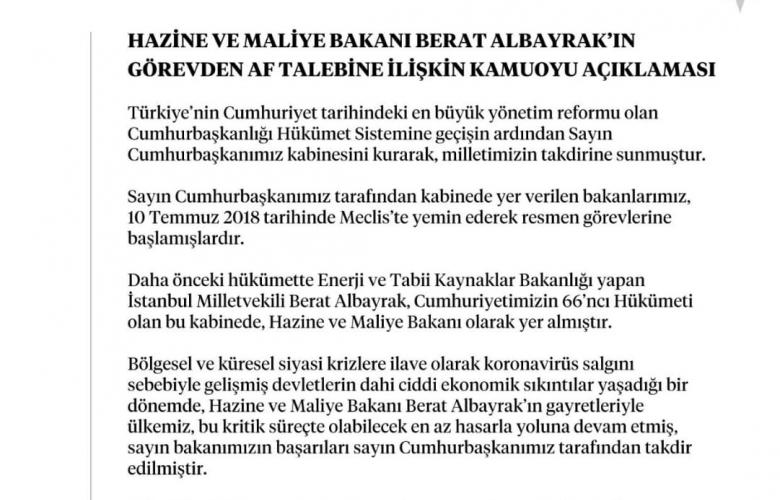 BERAT ALBAYRAK' IN İSTİFASI CUMHURBAŞKANI RECEP TAYYİP ERDOĞAN TARAFINDAN KABUL EDİLDİ