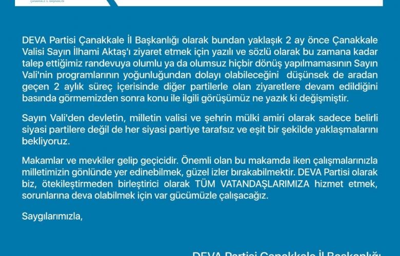 DEVA PARTİSİNDEN VALİ AKTAŞ' A RANDEVU TEPKİSİ